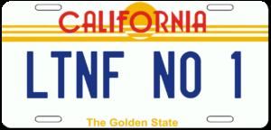 California PLATE LTNF NO 1